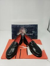 NIB $320 Pas De Rouge Black Slip on Nappa Loafers Made in Italy w Dust Bag Sz 38