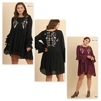 Umgee Womens Layered Ruffle Sleeve Dress 2 Colors Plus Sizes XL - 1XL New