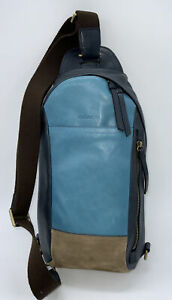 Coach Bleecker Mixed Leather Colorblock Sling Backpack Ocean
