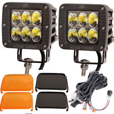 3x3 Cube LED Driving Light Wide Driving Beam Amber Cover Wiring Harness Kit