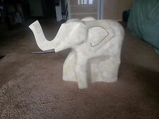 Marble Mosaic Carved Elephant Large Statue w Glass Table