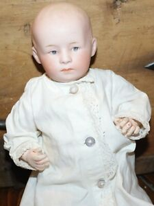 """Antique German 9"""" Doll, 6894, Bisque Head, Composition Body, Circa Early 1900's"""