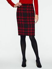 NEW $139 TALBOTS Red,Black Modern Houndstooth Pencil Skirt Sz 18WP,18W Petite