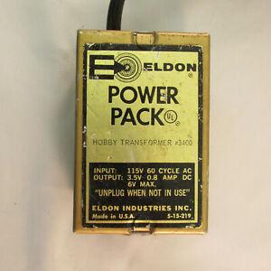 ELDON 6 VOLT DC POWER PACK TOY TRANSFORMER #3400 ~ TESTED @ 5.7 VOLTS DC ~ GOOD