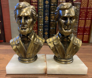VINTAGE Bronze ABRAHAM LINCOLN BOOKENDS on marble base Lincoln Bust US President