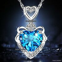 925 Silver Blue Crystal Diamond Heart Necklace Xmas Gifts For Her Wife Mum Women