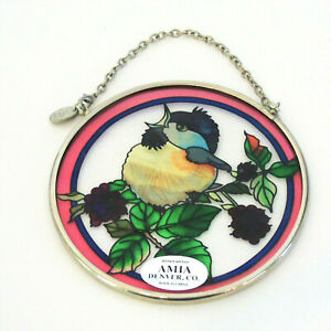 "AMIA Handpainted Hanging GLASS SUNCATCHER Bird Blackberries Marionberries 3.5"""