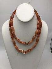 Vintage Polished stone necklace coralline Colored Glass  beads VN 150