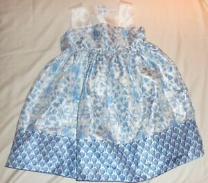 Girl's Gymboree Dressed Up Blue White Floral Dress with Attached Slip Size 4T