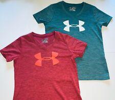 Under Armour Girls T Shirt Top Lot of 2 Heathered Heatgear Teal & Pink Medium