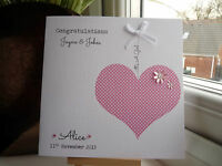 Handmade Personalised It's A Girl or Boy New Baby Congratulations Card Pink Blue