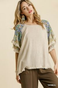 Umgee Linen Blend Floral Print Layered Ruffle Sleeve Top Size Small Medium Large