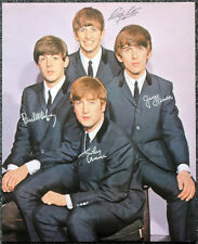 THE BEATLES POSTER PAGE HAND SIGNED AUTOGRAPHED . LENNON MCCARTNEY HARRISON . F6