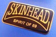 Skinhead Spirit of 69 Rectangle Bar Black And Gold Enamel Pin Badge