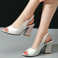 Women Sandals Ankle Strappy Slingback Chunky High Heel Open Toe Party Pumps Shoe