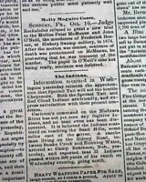 MOLLY MAGUIRES Sunbury PA Northumberland Pennsylvania Murder Case 1878 Newspaper