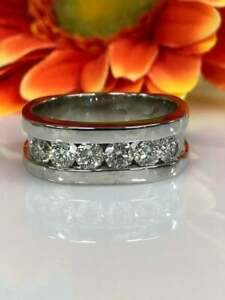 Men's Glamorous Engagement Wedding Channel Set Ring 14K White Gold 2 Ct Diamond