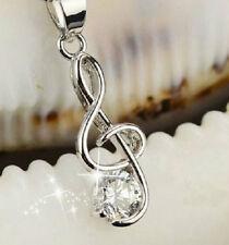 Treble Clef Nota Musical De Plata CZ Cristal Colgante Collar