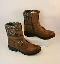 New Candie's Romano Cognac Strappy Buckle High Ankle Boots Woman's Size 6.5