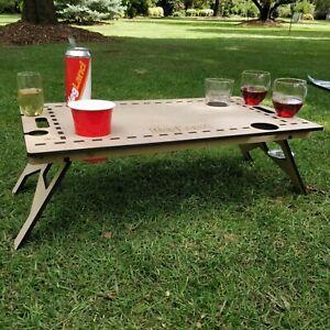 Mini Folding/Foldable Picnic Table For Summer (MDF) 60cm x 40cm Drinks Holders