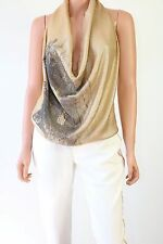 Haute Hippie Beige Sleeveless Short Top Blouse With Gold Sequins Size S