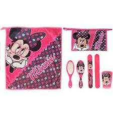 Disney MINNIE in Glasses 5pc Child Health -Towel Cup Toothbrush Cover Brush Bag
