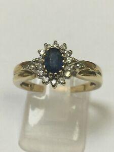 Unusual 9 Carat Yellow Gold DIAMOND & SAPPHIRE CLUSTER Ring