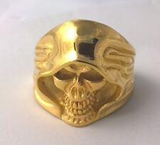 G-Filled Men's 18k yellow gold skull ring gothic bikie size USA 13 AUS Z+1 biker