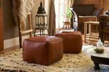 Set of 2 Moroccan Pouf Cube Pouf Ottoman Square Moroccan Pouf Natural Brown