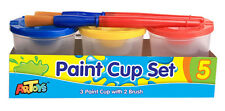 Paint Cups Set 3*150ml with 2 brushes, No-Spill with Color-Coded Lids & caps