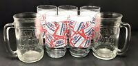 BUDWEISER Glass Beer Mug BUD KING OF BEERS Anheuser Busch Set of 7
