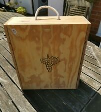 3 Bottle Wooden Wine Box with Sliding Lid.