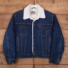 "Mens Vintage Levis Dark Blue Sherpa Lined Denim Trucker Jacket L 42"" R18874"
