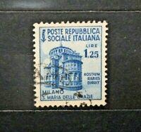 REPUBBLICA SOCIALE ITALIANA 1944/45 - MONUMENTI DISTRUTTI £1,25 USED (CAT.K)