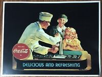 Drink Coca-Cola Delicious and Refreshing Tin Sign, 1989 Coke Ad 12 1/2 x 16 1/4