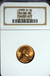 1939 - D NGC MS66RD LINCOLN CENT! #B24764