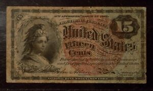 Fractional Currency | 15 cents | VG| Fibers | Blue Tint | Red Seal