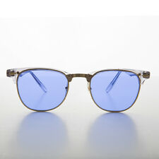Blue Tinted Half Frame Classic Horn Rim Vintage Sunglass -BROOKS