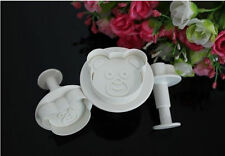 Bear 3 pc Plunger Cutter Set for cookies, fondant, crafts, etc. NEW