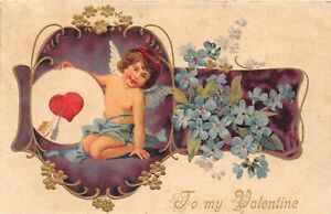 H66/ Valentine's Day Love Holiday Postcard c1910 Cupid Arrow Target 5