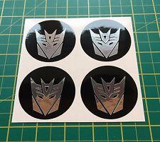 4x 60mm ALLOY WHEEL STICKER Transformers Decepticons chrome centre cap badge