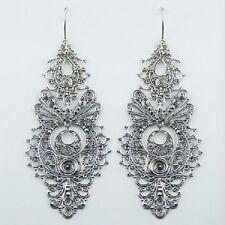 Silver earrings chandelier hook long drop 83mm filigree stamped 925 sterling new