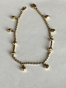 Ankle Bracelet Anklet 14k Solid Yellow Gold Heart Charms