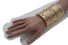 Hot Women Gold Metal Strings Long Cuff Bracelet Silver Rhinestones Bling Fashion