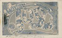 Greetings Joy Art Nouveau Rotograph Postcard – udb – 1906