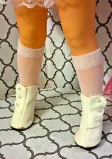 """WHITE VINYL SIDE BUTTON BOOTS SHOES & WHITE SOCKS fit 15 1/2"""" VELVET & MIA DOLL"""