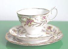 Royal Albert Floral & Gilt Porcelain 'Heather Bell' Tea Trio Set c.1940