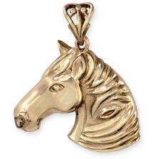 Heavy Solid 9ct Gold HORSE HEAD Pendant (Handmade UK)