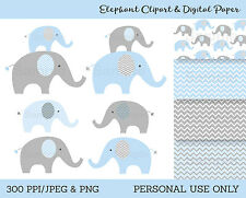 Blue & Grey Chevron Elephants Chevron Pattern Clipart & Digital Paper