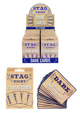 24 STAG DO Guys Party DARE CARDS Night Out Accessories Fun Novelty Wedding Game